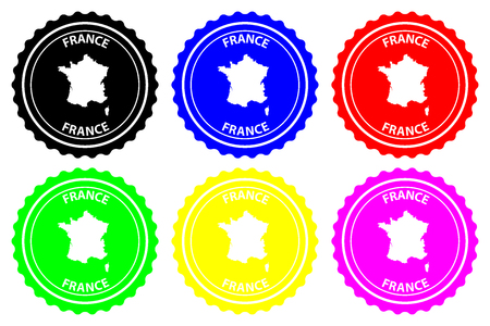 France - rubber stamp - vector,  French Republic map pattern - sticker - black, green, yellow, purple, blue and red
