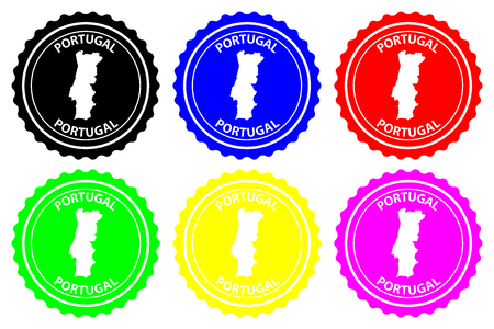 Portugal - rubber stamp - vector, Portugal map pattern - sticker - black, blue, green, yellow, purple and red