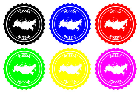 Russia - rubber stamp - vector, Russia map pattern - sticker - black, blue, green, yellow, purple and red