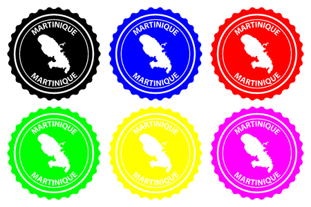 Martinique - rubber stamp - vector, Martiniquee map pattern - sticker - black, red, blue, green, yellow, purple