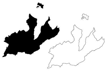 Ginebra (cantones de Suiza, cantones suizos, Confederación Suiza) mapa ilustración vectorial, bosquejo de garabatos mapa de la República y el cantón de Ginebra