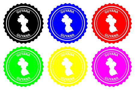 Guyana - rubber stamp - vector, Co-operative Republic of Guyana map pattern - sticker - black, blue, green, yellow, purple and red Ilustrace