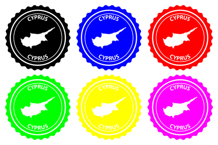 Cyprus - rubber stamp - vector,Republic of Cyprus map pattern - sticker - black, blue, green, yellow, purple and red Ilustracja