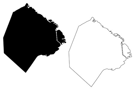 Buenos Aires (Region of Argentina, Argentine Republic, Provinces of Argentina) map vector illustration, scribble sketch Autonomous City of Buenos Aires map