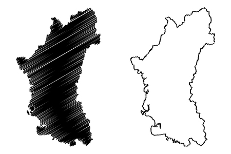 Perak (States and federal territories of Malaysia, Federation of Malaysia) map vector illustration, scribble sketch Perak Darul Ridzuan map