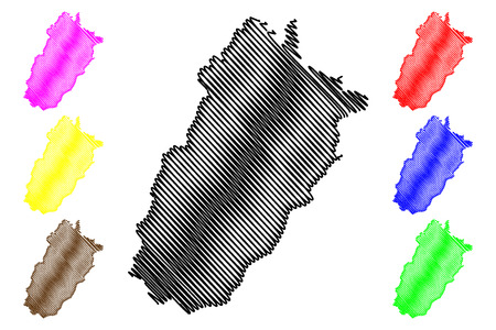 Punjab (Province of Pakistan, Islamic Republic of Pakistan, Administrative units and Districts of Pakistan) map vector illustration, scribble sketch Punjab province map