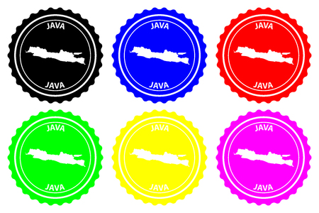 Java - rubber stamp - vector, Java map pattern - sticker - black, blue, green, yellow, purple and red