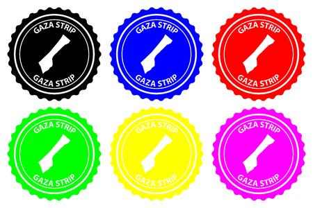 Gaza Strip - rubber stamp - vector, Gaza Strip map pattern - sticker - black, blue, green, yellow, purple and red Illustration