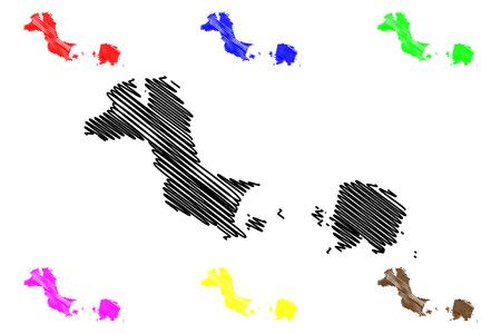 Bangka Belitung Islands (Subdivisions of Indonesia, Provinces of Indonesia) map vector illustration, scribble sketch Kepulauan Bangka Belitung map Vetores