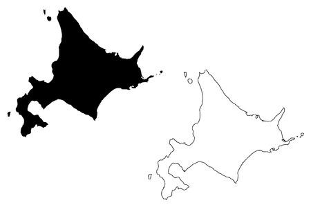 Hokkaido (Administrative divisions of Japan, Prefectures of Japan) map vector illustration, scribble sketch Hokkaido