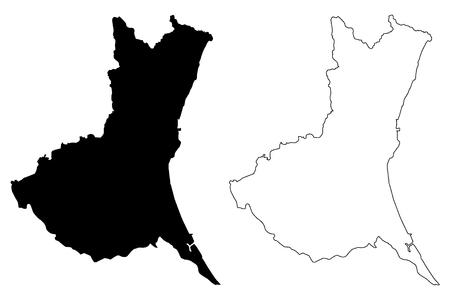 Prefettura di Ibaraki (divisioni amministrative del Giappone, prefetture del Giappone) mappa illustrazione vettoriale, schizzo mappa Ibaraki