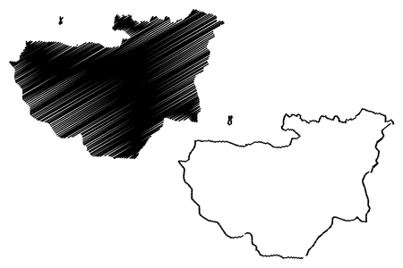 Bursa (Provinces of the Republic of Turkey) map vector illustration, scribble sketch Bursa ili map Illustration