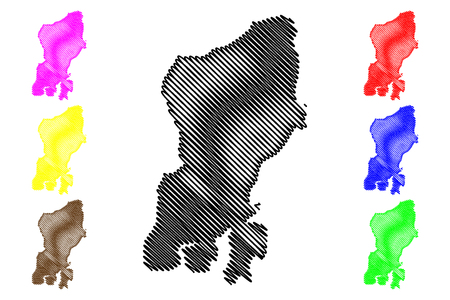 Muna Island (Subdivisions of Indonesia, Provinces of Indonesia) map vector illustration, scribble sketch Muna map