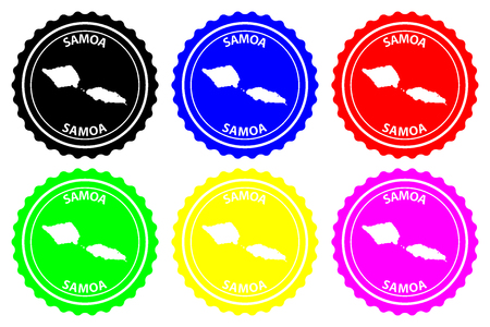 Samoa island - rubber stamp - vector, Independent State of Samoa (Western Samoa) map pattern - sticker - black, blue, green, yellow, purple and red, 일러스트