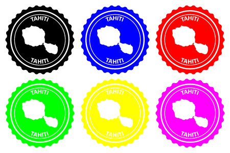 Tahiti - rubber stamp - vector, Tahiti map pattern - sticker - black, blue, green, yellow, purple and red