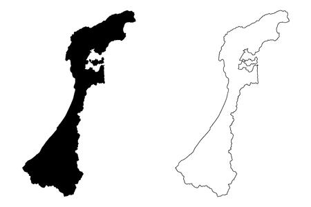 Ishikawa Prefecture (Administrative divisions of Japan, Prefectures of Japan) map vector illustration, scribble sketch Ishikawa map Vektorové ilustrace