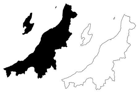 Niigata Prefecture (Administrative divisions of Japan, Prefectures of Japan) map vector illustration, scribble sketch Niigata map