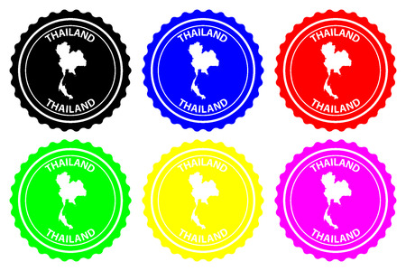 Thailand - rubber stamp - vector, Kingdom of Thailand (Siam) map pattern - sticker - black, blue, green, yellow, purple and red