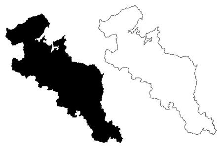 Kyoto Prefecture (Administrative divisions of Japan, Prefectures of Japan) map vector illustration, scribble sketch Kyoto map Ilustração