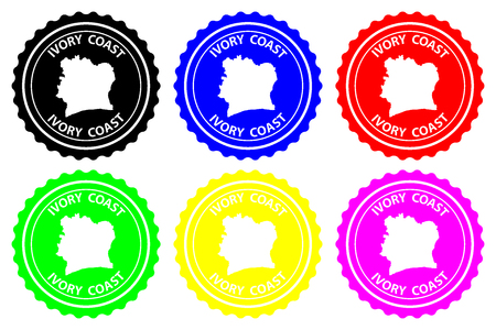Ivory Coast - rubber stamp - vector, Ivory Coast map pattern - sticker - black, blue, green, yellow, purple and red