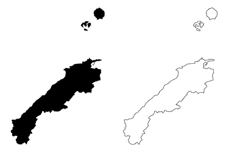 Shimane Prefecture (Administrative divisions of Japan, Prefectures of Japan) map vector illustration, scribble sketch Shimane map Illustration