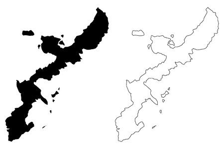 Okinawa island (island of Japan) map vector illustration, scribble sketch Okinawa map