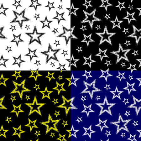 Star seamless pattern, Five pointed star (black, white, blue, yellow) background set, Illustration