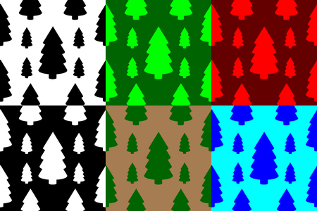 Coniferous tree seamless pattern, tree (black, white, green, brown, red, blue) background,