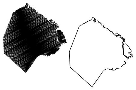 Buenos Aires (Region Argentinien, Argentinische Republik, Provinzen Argentiniens) Kartenvektorillustration, Kritzelskizze Autonome Stadt Buenos Aires Karte