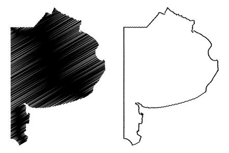 Provinz Buenos Aires (Region Argentinien, Argentinische Republik, Provinzen Argentiniens) Kartenvektorillustration, Kritzelskizze Karte von Buenos Aires