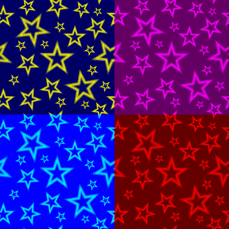 Star seamless pattern, Five pointed star (red, purple, blue, yellow) background set,