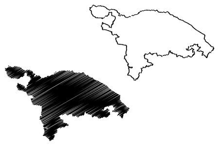 Thurgau (cantones de Suiza, cantones suizos, Confederación Suiza) mapa ilustración vectorial, bosquejo de garabatos mapa del cantón de Thurgovia Ilustración de vector