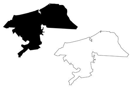 Damietta Governorate (Governorates of Egypt, Arab Republic of Egypt) map vector illustration, scribble sketch Damietta map