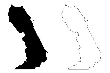 Red Sea Governorate (Governorates of Egypt, Arab Republic of Egypt) map vector illustration, scribble sketch Red Sea map