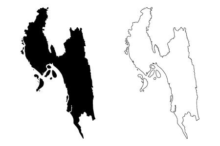 Chittagong Division (Administrative Divisions of Bangladesh) map vector illustration, scribble sketch Chattogram map Illustration