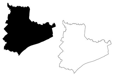 Bac Lieu Province (Socialist Republic of Vietnam, Subdivisions of Vietnam) map vector illustration, scribble sketch Tinh Bac Lieu map Иллюстрация