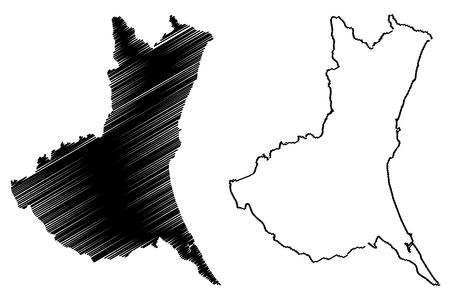 Ibaraki Prefecture (Administrative divisions of Japan, Prefectures of Japan) map vector illustration, scribble sketch Ibaraki map