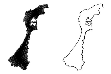 Ishikawa Prefecture (Administrative divisions of Japan, Prefectures of Japan) map vector illustration, scribble sketch Ishikawa map