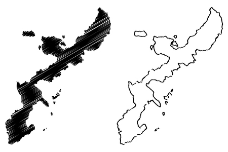 Okinawa island (island of Japan) map vector illustration, scribble sketch Okinawa map