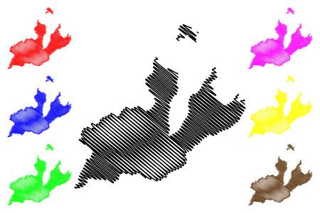Geneva  (Cantons of Switzerland, Swiss cantons, Swiss Confederation) map vector illustration, scribble sketch Republic and Canton of Geneva map Illustration