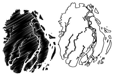 Barisal Division (Administrative Divisions of Bangladesh) map vector illustration, scribble sketch Barishal map Illustration