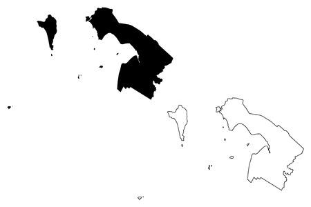 Kien Giang Province (Socialist Republic of Vietnam, Subdivisions of Vietnam) map vector illustration, scribble sketch Tinh Kien Giang map