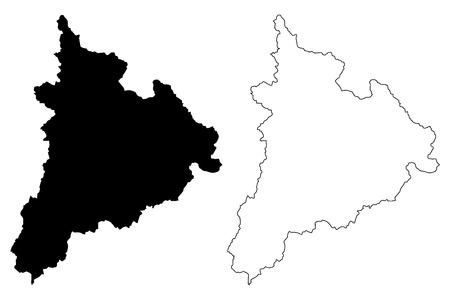 Kon Tum Province (Socialist Republic of Vietnam, Subdivisions of Vietnam) map vector illustration, scribble sketch Tinh Kon Tum map