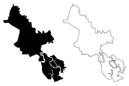 Ho Chi Minh City Province (Socialist Republic of Vietnam, Subdivisions of Vietnam, Municipality) map vector illustration, scribble sketch Saigon map