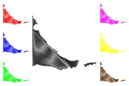 Tierra del Fuego (Region of Argentina, Argentine Republic, Provinces of Argentina) map vector illustration, scribble sketch Provincia de Tierra del Fuego, Antártida e Islas del Atlántico Sur map