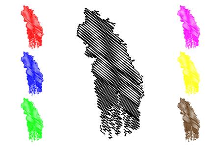 Khulna Division (Administrative Divisions of Bangladesh) map vector illustration, scribble sketch Khulna map Illustration
