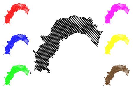 Kochi  Prefecture (Administrative divisions of Japan, Prefectures of Japan) map vector illustration, scribble sketch Kochi map Illustration