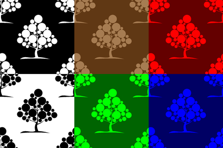 Deciduous tree seamless pattern, Tree (white, black, red, blue, brown, green) background set,