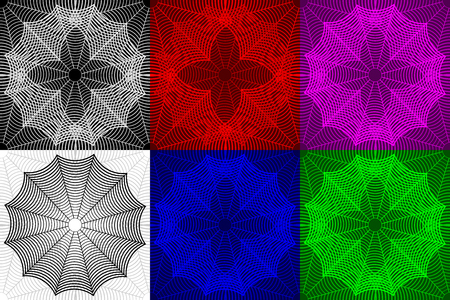 Spider web seamless pattern, Cobweb (white, black, red, blue, purple, green) background set,