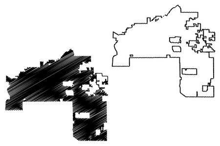 Mesa City (United States cities, United States of America, usa city) map vector illustration, scribble sketch City of Mesa map